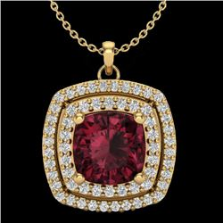 2.27 CTW Garnet & Micro Pave VS/SI Diamond Halo Necklace 18K Yellow Gold - REF-63H3W - 20458