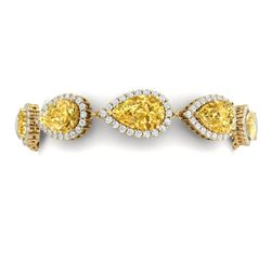 39.26 CTW Royalty Canary Citrine & VS Diamond Bracelet 18K Yellow Gold - REF-418R2K - 38870