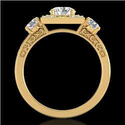 1.55 CTW VS/SI Diamond Solitaire Art Deco 3 Stone Ring 18K Yellow Gold - REF-272H8W - 37276