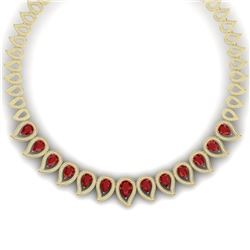 33.4 CTW Royalty Designer Ruby & VS Diamond Necklace 18K Yellow Gold - REF-1236T4X - 39440