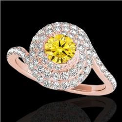 2.11 CTW Certified Si Fancy Intense Yellow Diamond Solitaire Halo Ring 10K Rose Gold - REF-240T9X -