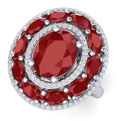 8.05 CTW Royalty Designer Ruby & VS Diamond Ring 18K White Gold - REF-143Y6N - 39240