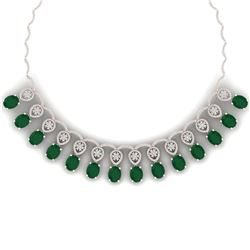 56.05 CTW Royalty Emerald & VS Diamond Necklace 18K Rose Gold - REF-1145F5M - 39061