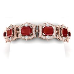 43.87 CTW Royalty Ruby & VS Diamond Bracelet 18K Rose Gold - REF-836W4H - 38779