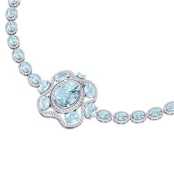 47.72 CTW Royalty Sky Topaz & VS Diamond Necklace 18K White Gold - REF-818F2M - 39339