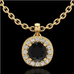 1.1 CTW Fancy Black Diamond Solitaire Art Deco Stud Necklace 18K Yellow Gold - REF-79M3F - 37998