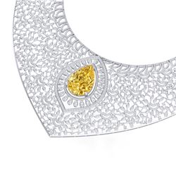 59.27 CTW Royalty Canary Citrine & VS Diamond Necklace 18K White Gold - REF-2454F5M - 39582