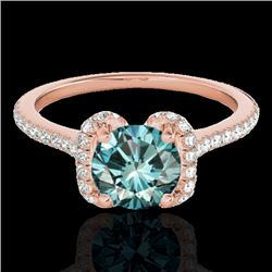 1.33 CTW SI Certified Fancy Blue Diamond Solitaire Halo Ring 10K Rose Gold - REF-163R5K - 33295
