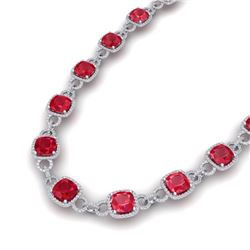 56 CTW Ruby & VS/SI Diamond Certified Necklace 14K White Gold - REF-1003K6R - 23048