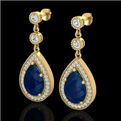 6 CTW Sapphire & Micro Pave VS/SI Diamond Earrings Designer 18K Yellow Gold - REF-93N8Y - 23123