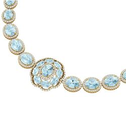 81.42 CTW Royalty Sky Topaz & VS Diamond Necklace 18K Yellow Gold - REF-1054F5M - 39233