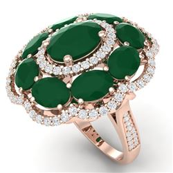 14.4 CTW Royalty Designer Emerald & VS Diamond Ring 18K Rose Gold - REF-300K2R - 39184