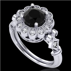 1.2 CTW Fancy Black Diamond Solitaire Engagement Art Deco Ring 18K White Gold - REF-123Y6N - 37828