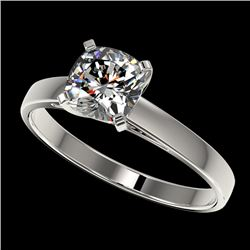 1 CTW Certified VS/SI Quality Cushion Cut Diamond Solitaire Ring 10K White Gold - REF-270T3X - 32997