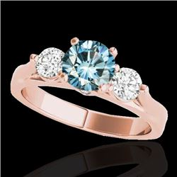 1.5 CTW SI Certified Fancy Blue Diamond 3 Stone Solitaire Ring 10K Rose Gold - REF-180K2R - 35373