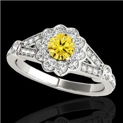 1.65 CTW Certified Si Fancy Intense Yellow Diamond Solitaire Halo Ring 10K White Gold - REF-180F2M -