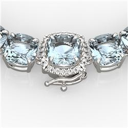 87 CTW Aquamarine & VS/SI Diamond Necklace 14K White Gold - REF-726Y9N - 23336
