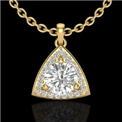 1.50 CTW Micro Pave Halo VS/SI Diamond Certified Necklace 18K Yellow Gold - REF-385T8X - 20525