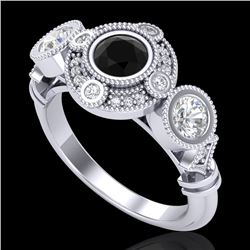 1.51 CTW Fancy Black Diamond Solitaire Art Deco 3 Stone Ring 18K White Gold - REF-174M5F - 37709