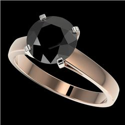 2.59 CTW Fancy Black VS Diamond Solitaire Engagement Ring 10K Rose Gold - REF-67H3W - 36564