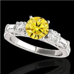 2 CTW Certified Si Fancy Intense Yellow Diamond Pave Solitaire Ring 10K White Gold - REF-221X8T - 35