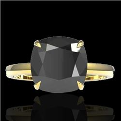 6 CTW Black VS/SI Diamond Designer Inspired Engagement Rng 18K Yellow Gold - REF-155W6H - 22176