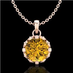 1.14 CTW Intense Fancy Yellow Diamond Art Deco Stud Necklace 18K Rose Gold - REF-121F8M - 37379
