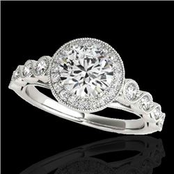 1.5 CTW H-SI/I Certified Diamond Solitaire Halo Ring 10K White Gold - REF-178H2W - 33598