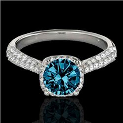 1.5 CTW SI Certified Fancy Blue Diamond Solitaire Halo Ring 10K White Gold - REF-177X6T - 33263