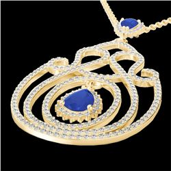 3.20 CTW Sapphire & Micro Pave VS/SI Diamond Heart Necklace 14K Yellow Gold - REF-162H4W - 22442