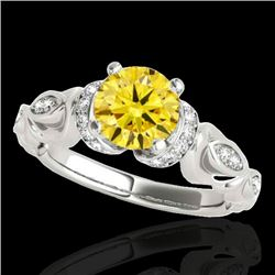 1.2 CTW Certified Si Intense Yellow Diamond Solitaire Antique Ring 10K White Gold - REF-161M8F - 346