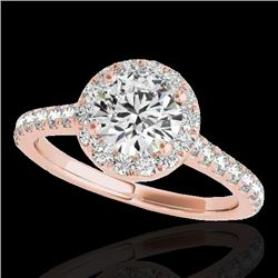 1.4 CTW H-SI/I Certified Diamond Solitaire Halo Ring 10K Rose Gold - REF-160X2T - 33581