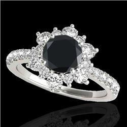 2 CTW Certified Vs Black Diamond Solitaire Halo Ring 10K White Gold - REF-96T5X - 33709