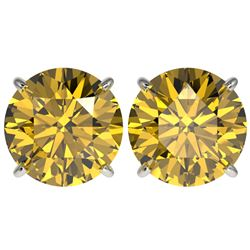 5 CTW Certified Intense Yellow SI Diamond Solitaire Stud Earrings 10K White Gold - REF-1390Y5N - 331
