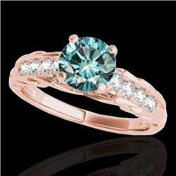 1.2 CTW SI Certified Fancy Blue Diamond Solitaire Ring 10K Rose Gold - REF-158F2M - 34940