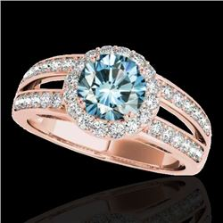 1.6 CTW SI Certified Fancy Blue Diamond Solitaire Halo Ring 10K Rose Gold - REF-180Y2N - 34253