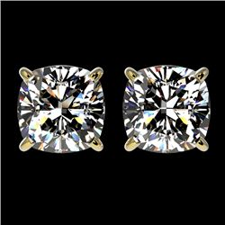 2 CTW Certified VS/SI Quality Cushion Cut Diamond Stud Earrings 10K Yellow Gold - REF-552F2M - 33099