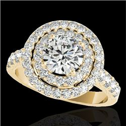 3 CTW H-SI/I Certified Diamond Solitaire Halo Ring 10K Yellow Gold - REF-428F9M - 34222