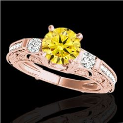 1.38 CTW Certified Si Intense Yellow Diamond Solitaire Antique Ring 10K Rose Gold - REF-174X5T - 346