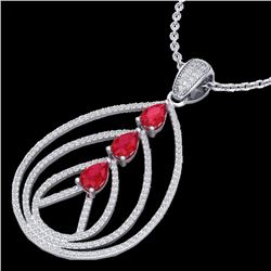 2 CTW Ruby & Micro Pave VS/SI Diamond Certified Designer Necklace 18K White Gold - REF-133W3H - 2246