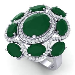 9.86 CTW Royalty Designer Emerald & VS Diamond Ring 18K White Gold - REF-218H2W - 39291