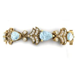 26.1 CTW Royalty Sky Topaz & VS Diamond Bracelet 18K Yellow Gold - REF-381H8W - 38741