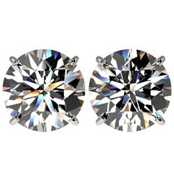 5 CTW Certified G-Si Quality Diamond Solitaire Stud Earrings 10K White Gold - REF-1663R3K - 33142