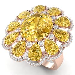 18.53 CTW Royalty Canary Citrine & VS Diamond Ring 18K Rose Gold - REF-254R5K - 39151