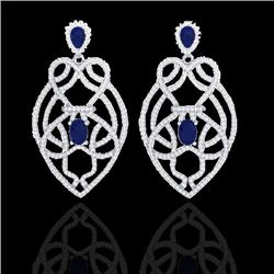 7 CTW Sapphire & Micro VS/SI Diamond Heart Earrings Designer 14K White Gold - REF-381T8X - 21140