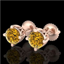 1.5 CTW Intense Fancy Yellow Diamond Art Deco Stud Earrings 18K Rose Gold - REF-263M6F - 38072