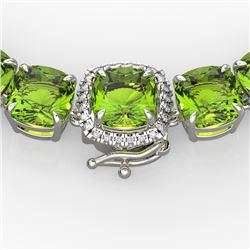 100 CTW Peridot & VS/SI Diamond Pave Necklace 14K White Gold - REF-528X9T - 23354