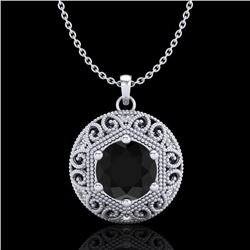 1.11 CTW Fancy Black Diamond Solitaire Art Deco Stud Necklace 18K White Gold - REF-87W3H - 37562