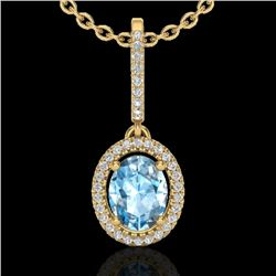 2 CTW Sky Blue Topaz & Micro VS/SI Diamond Necklace Halo 18K Yellow Gold - REF-58T2X - 20654