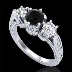 2.18 CTW Fancy Black Diamond Solitaire Art Deco 3 Stone Ring 18K White Gold - REF-200X2T - 38108